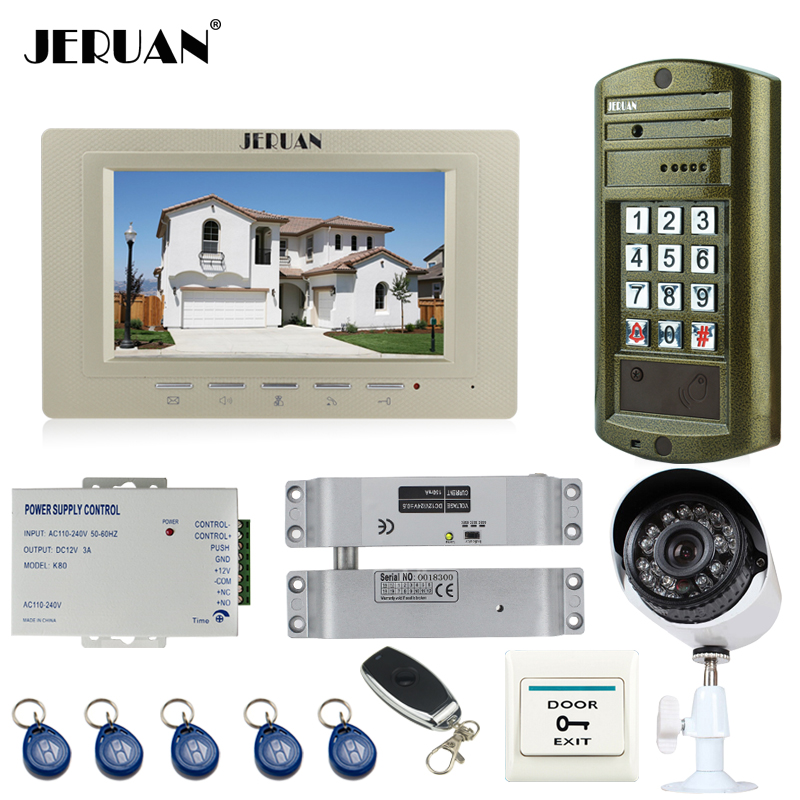 JERUAN Wired 7`` TFT LCD Video DoorPhone Intercom System kit Metal Waterproof password keypad HD Mini Camera+Analog Camera 2V1 jeruan wired 8 video doorphone record intercom system kit 2 monitor new rfid waterproof touch key password keypad camera 8g sd
