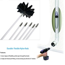Nylon Chimney Brush and Rods Kit Electrical Rotary Drill Drive Sweeping Cleaning Tool with Long Flexible chimney sweep