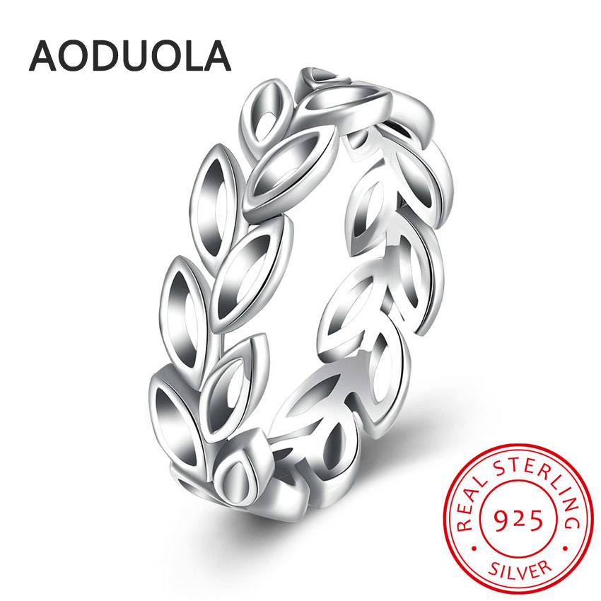 925 Sterling Silver Ring Laurel Wreath Womens Rings for Ladies and Girls Finger Lover wedding Gift