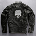 Harley style skulls genuine leather motorcycle jacket men fashion biker jacket male men's cowskin leather jacket coat winter
