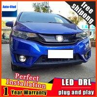 Car styling LED fog light for Honda City 2015 LED Fog lamp with lens and LED day time running ligh LED DRL car 2 function