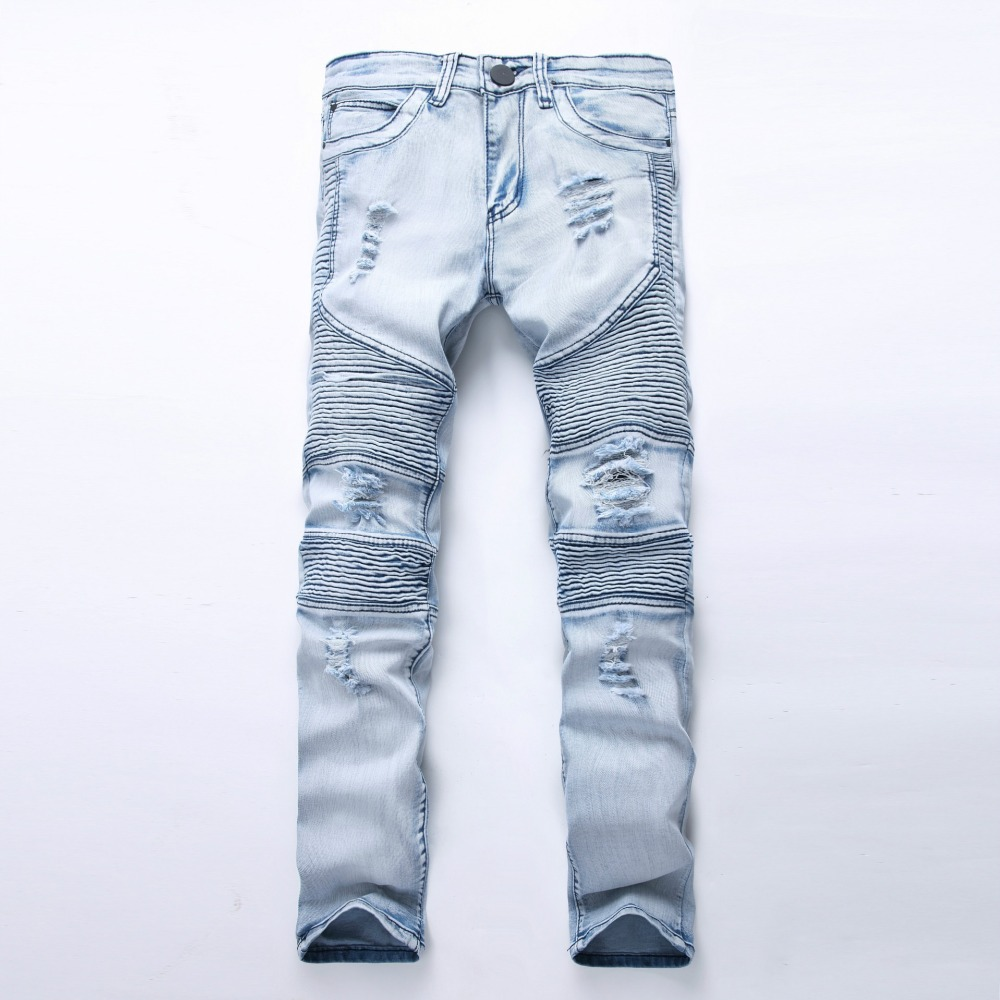 Big Size Mens Knee Ripped Skinny Jeans Young Men Moto Denim Biker Jeans Pants Motocycle Slim Fit Pleated Denim Trousers 38 40 42 2017 men jeans biker pleated mens denim ripped jeans hip hop straight stretch zipper distressed moto slim fit pleated punk pants