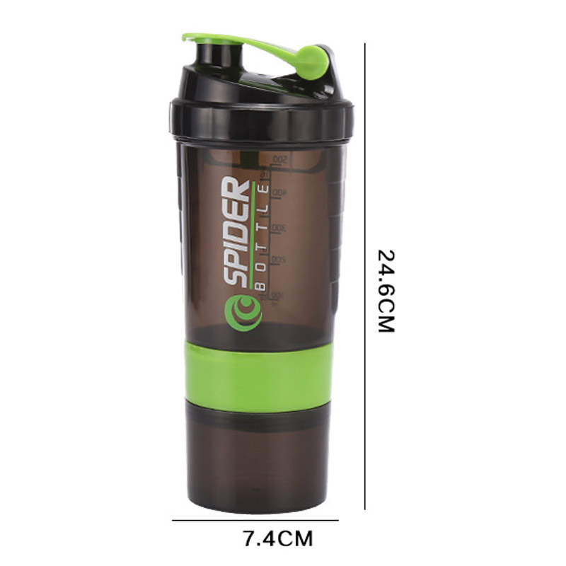 Sports Nutrition Whey Protein Shaker Blender Mixer Sports Fitness Gym 3 Layers Multifunction 500ml Free Shaker Bottle