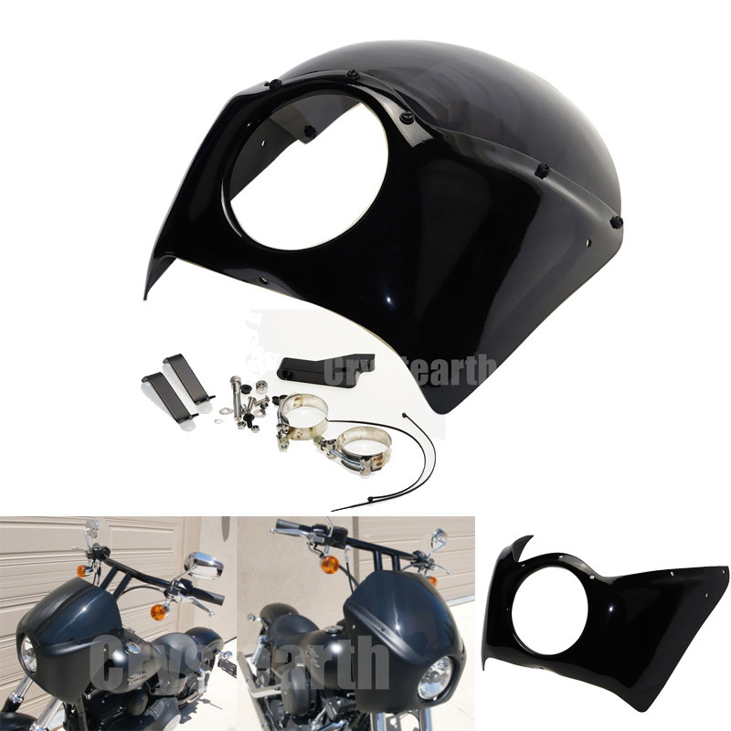 цена на Motorcycle Headlight Front Visor Fairing Cowl Cafe Racer Headlamp Fairing Windscreen For 2006-2016 Harley Dyna