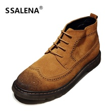 Mens Vintage Brogue Boots Soft Leather Ankle Boots Autumn Winter Short Boots Fashion Footwear Lace Up Shoes AA20209