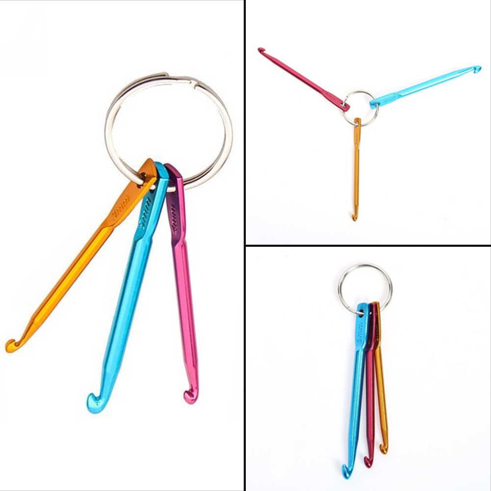 3 unids/set 3mm/4mm/5mm ganchos de ganchillo set llavero diseño suave mango agujas de ganchillo DIY tejer herramientas