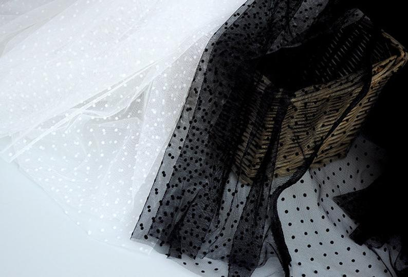 5 yards off white tulle Lace fabric with polka dots, Embroidered tulle mesh lace fabric with velvet dot