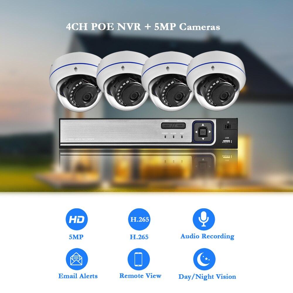AZISHN H.265 5MP POE CCTV система безопасности NVR взрывозащищенный аудио 5MP 1/2. 8