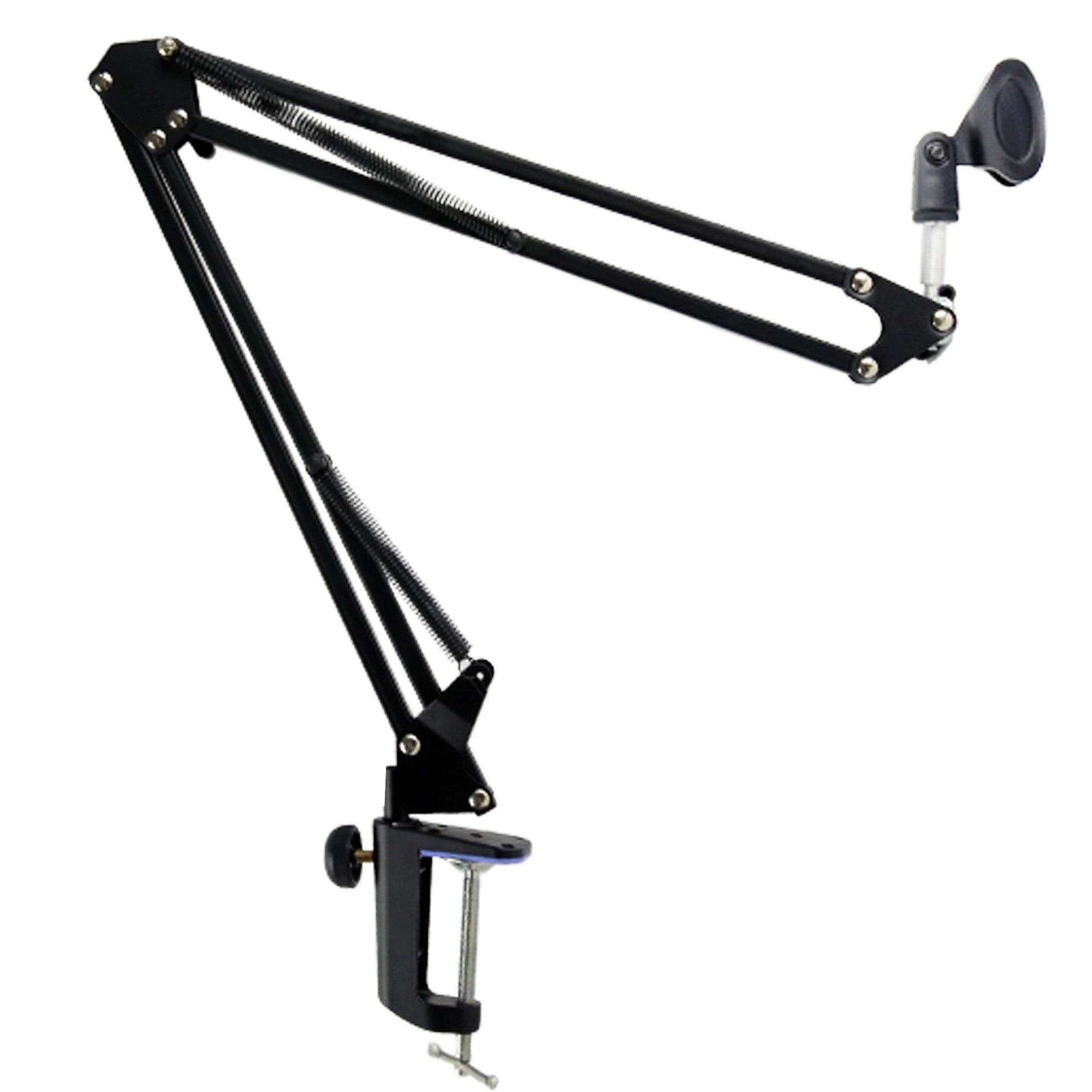 Extensible grabación micrófono suspensión Boom Scissor Arm Stand titular con micrófono Clip de montaje de mesa