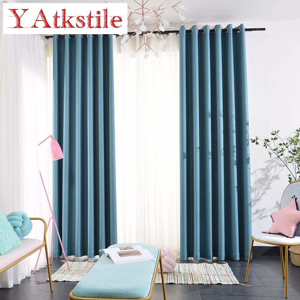 YAtkstile 70%  90% Shading Thick Modern Style Solid Color Simple Curtains  For Livingroom