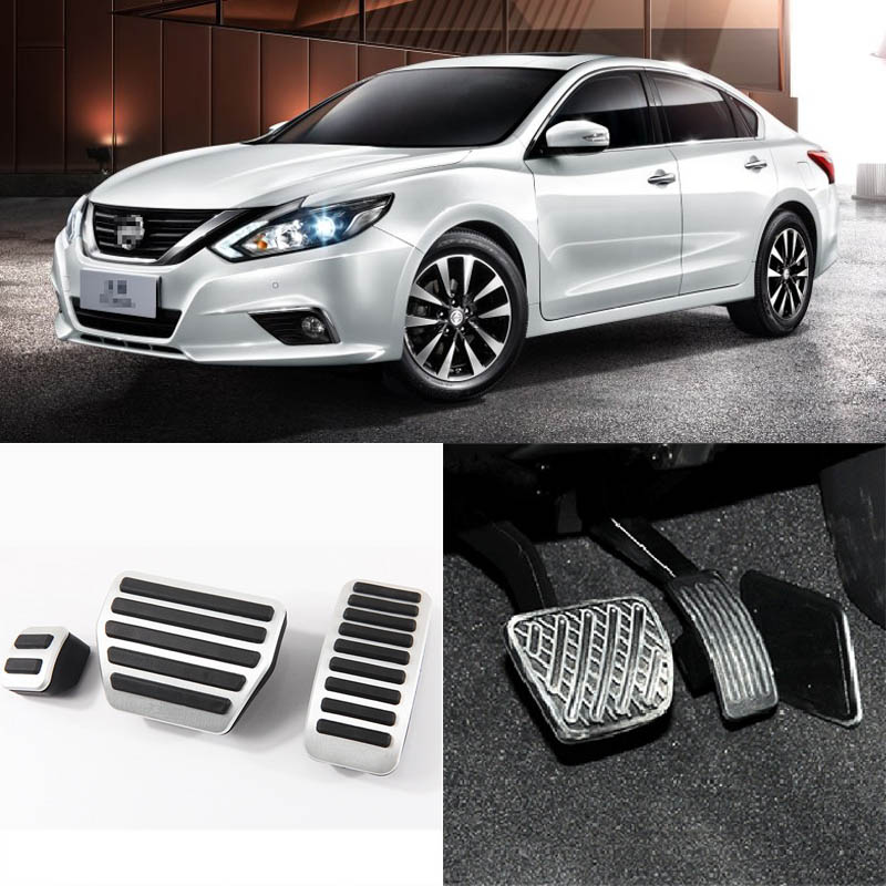 Brand New 3pcs Aluminium Non Slip Foot Rest Fuel Gas Brake Pedal Cover For Nissan Teana AT 2008-2016 3pcs gas fuel brake footrest foot pedal pad cover trim for infiniti g25 g35 g37 g37c m37 m56