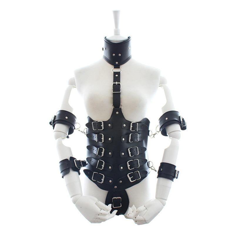 Armure noire directe d'usine BDSM bondage vêtements en cuir véritable couple flirtant reliure vêtements sexy jouets féminins