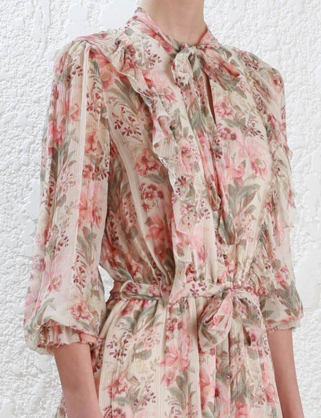 0768a1547545 Women Maple Printed Folly Neck Tie Silk Romper V neck Long sleeves Ruffle  and Picot Trim Playsuit -in Rompers from Women s Clothing on Aliexpress.com  ...