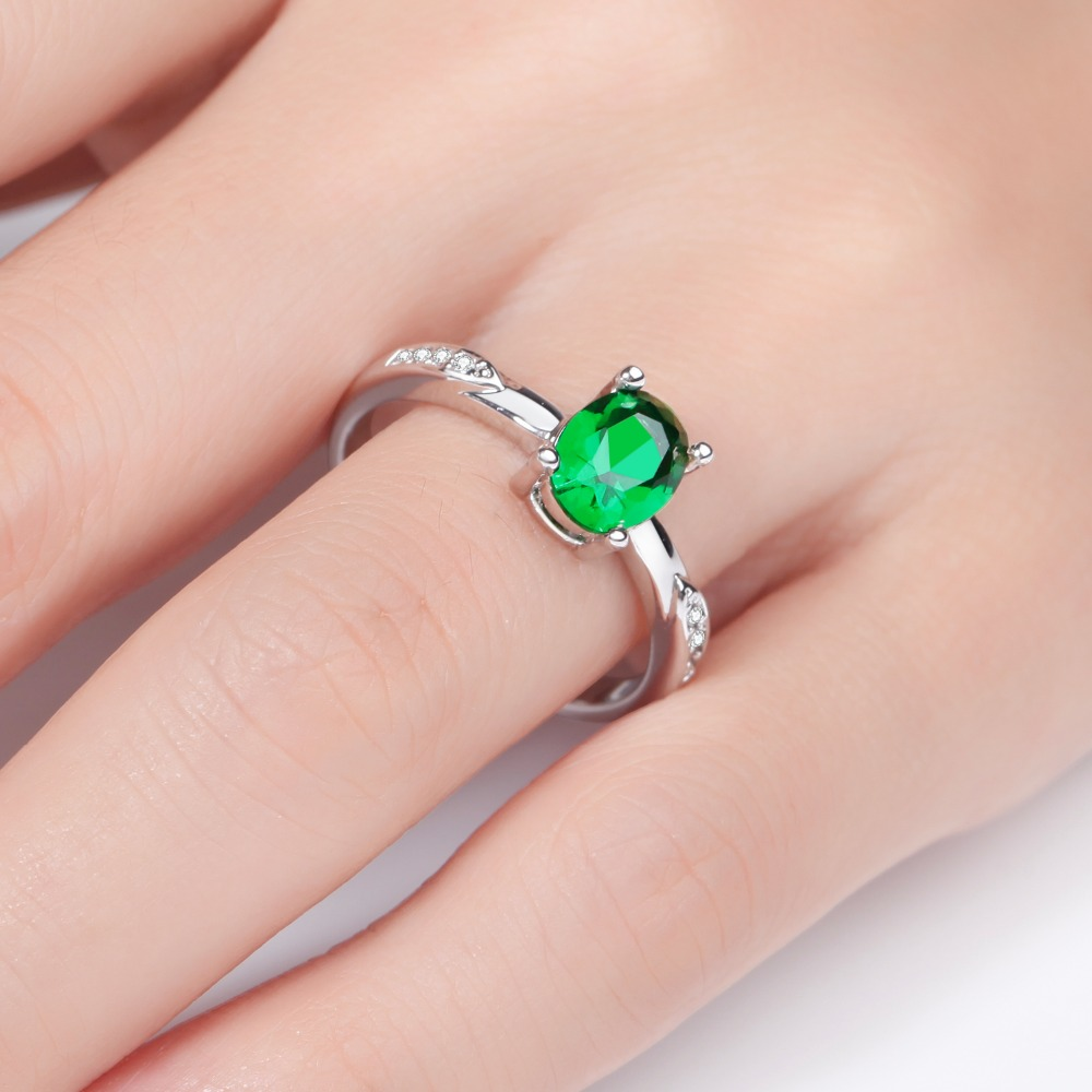 MEGREZEN Simple Silver Ring With Green Stone Costume Jewelry Vintage ...
