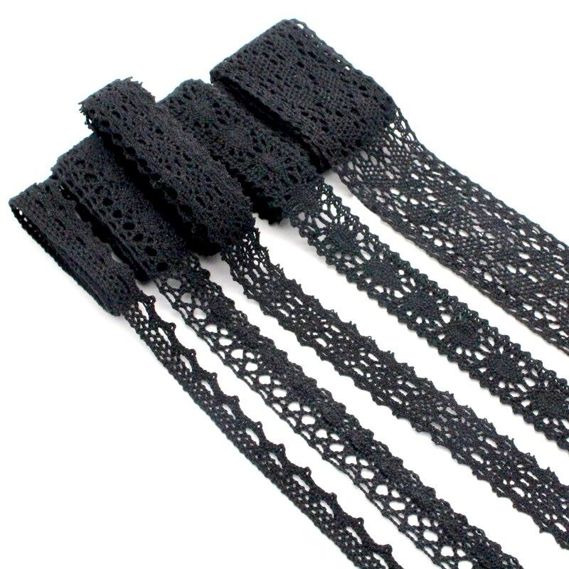 Lucia Crafts 2 ярдов/партия Черная кружевная ткань отделка Лента для самодельного украшения одежды аксессуары для волос вышитая кружевная лента ...