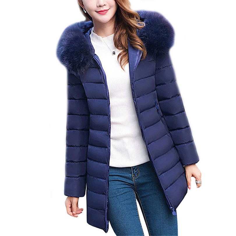 Women Manteau Winter Jacket Fur Collar Female Coat Slim Thick Warm Femme Hooded Outwear Down Cotton Clothes Padded Parkas S273