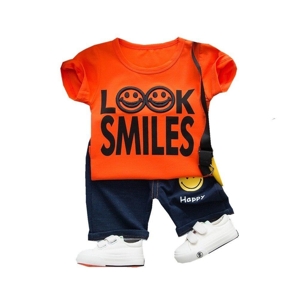 2019 novo verão bebê meninos roupas infantis crianças roupas dos desenhos animados algodão smiley rosto camiseta shorts 2 pçs/pçs/set ternos da forma
