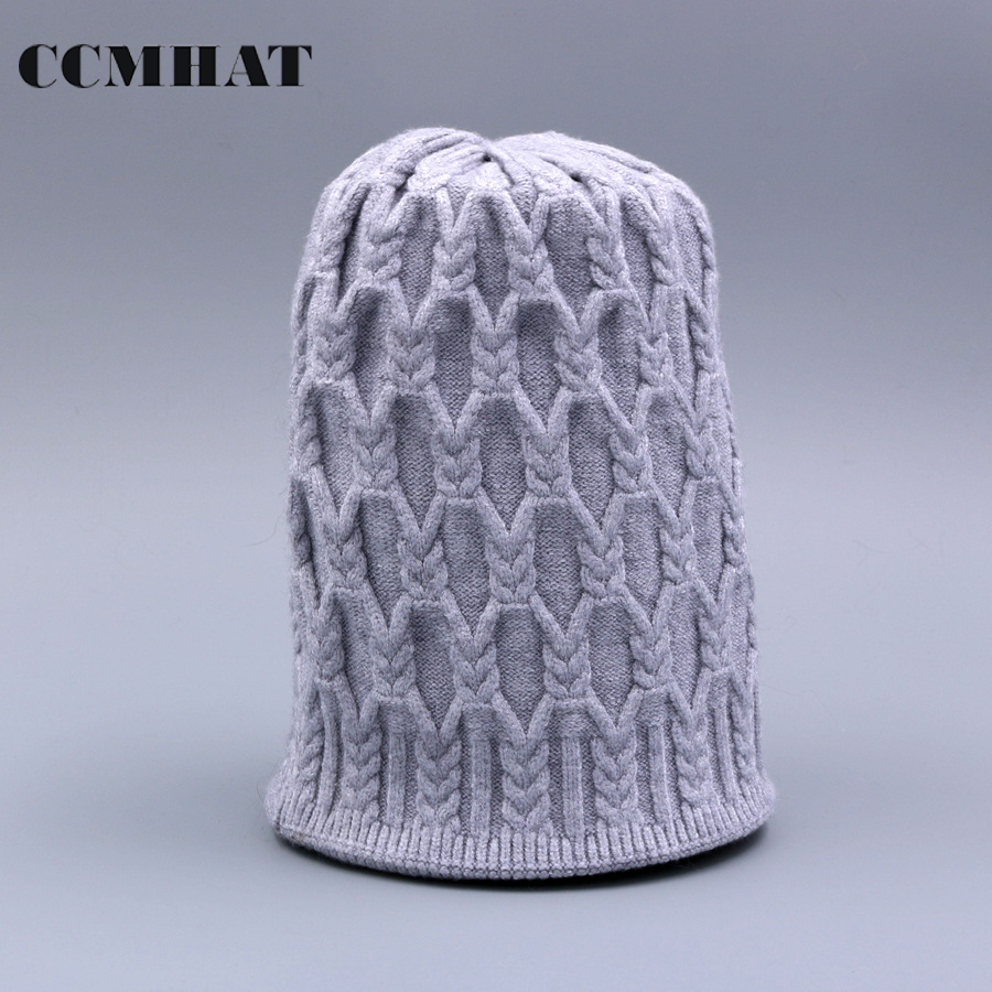 CCMHAT Skullies Beanies Winter Knitting Hat For Women Thick Warm Knitting Female Cap Hat Solid Balaclava Girls Gorro Masculino skullies