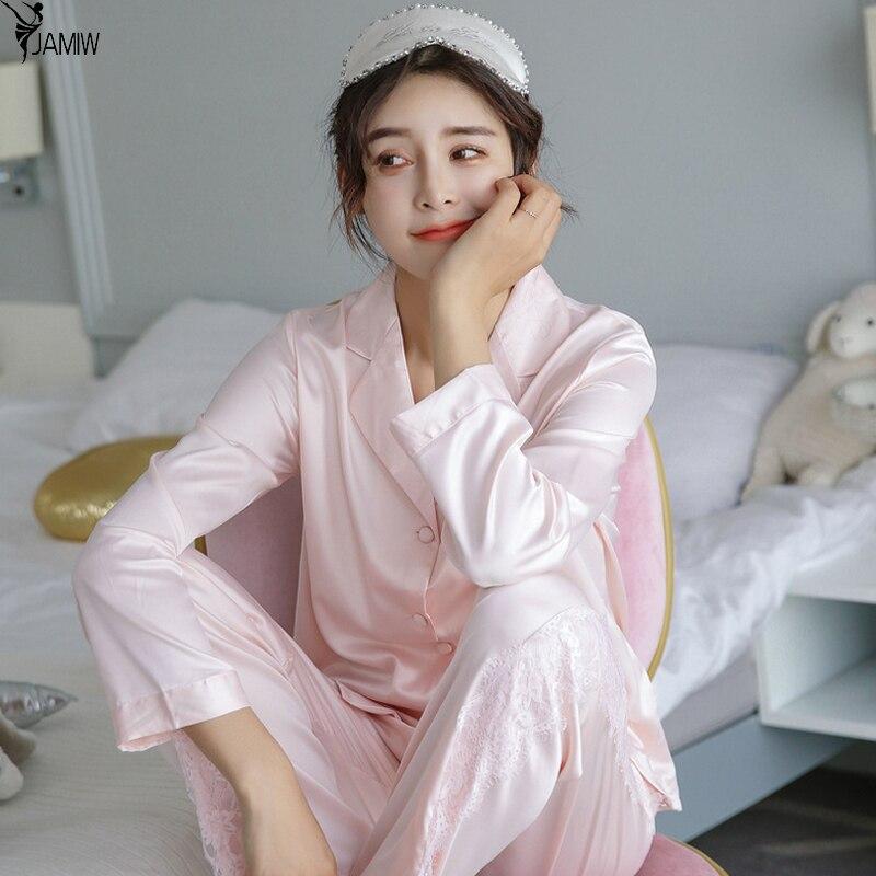 Brand full sleeve womens korean style pajama set 2017 autumn nightwear silk satin lace sleepwear christmas gifts wife