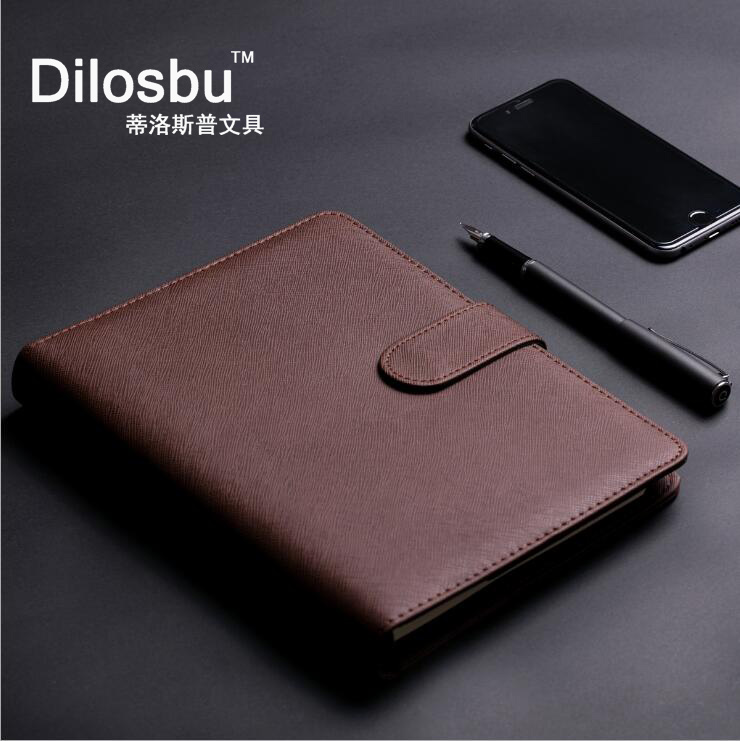 Dilosbu classic leather loose leaf notebook 185*235mm 100sheets Multi function slot business travel spiral book composition