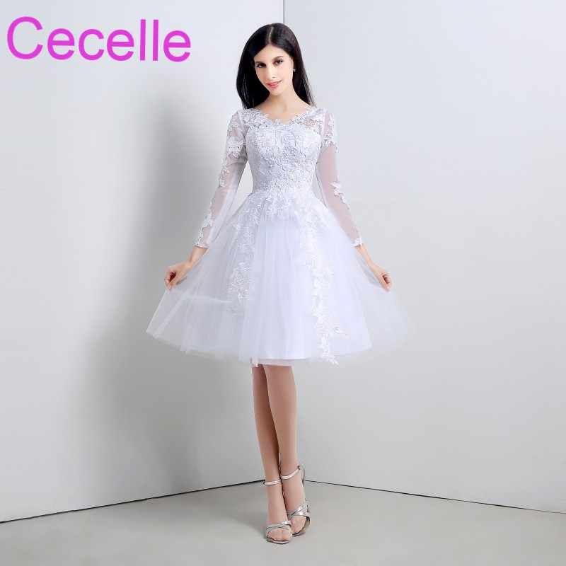 Informal knee Length Short Wedding Dresses 2019 With Long Sleeves Lace  Tulle Country Western Bridal Gowns c1b44b351506