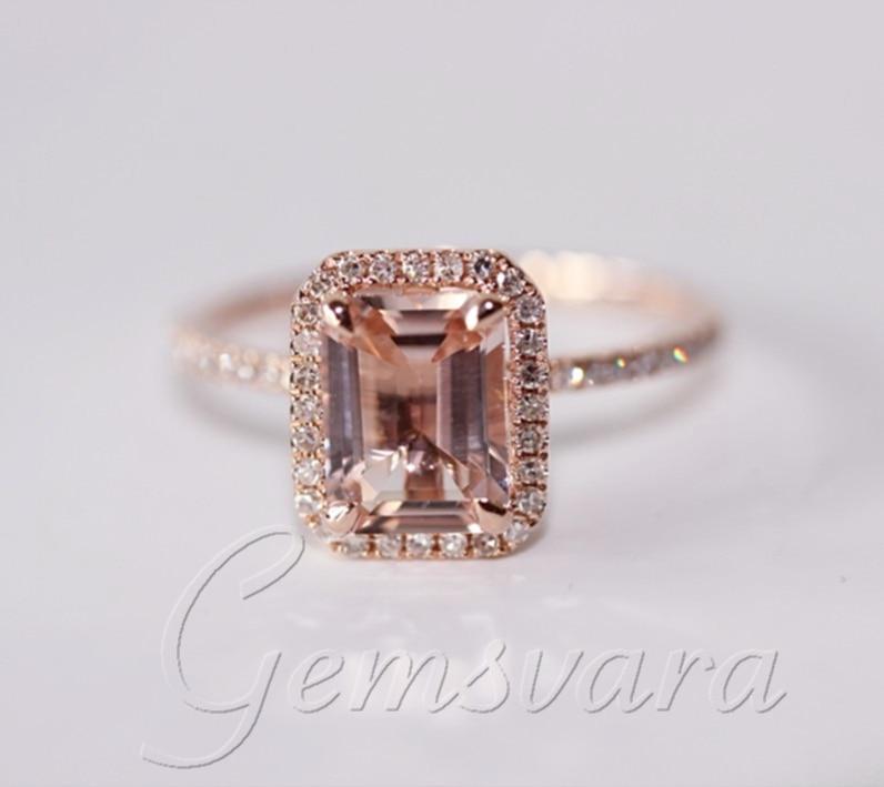 Assez 2 anneaux solides 14 K or Rose Morganite anneaux de mariage  KH78