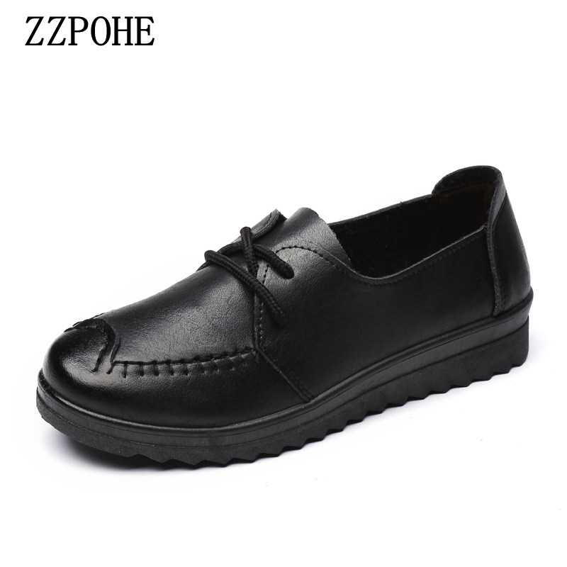 ZZPOHE Women's Flats Shoes Women Autumn Fashion Casual Comfortable Leather Shoes Female Soft Slip On Driving shoes
