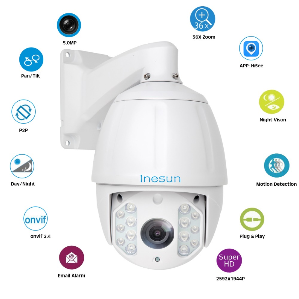 Image 4 - Inesun 36X Optical Zoom H.265 Outdoor PTZ IP High Speed Dome Camera 5MP Super HD 2592x1944 Waterproof 600ft IR Night Vision-in Surveillance Cameras from Security & Protection
