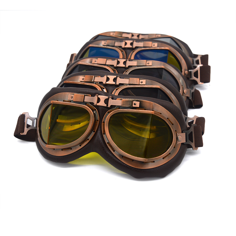 evomosa Vintage Motorcycle Goggles Aviator Pilot WWII Helmet Goggles Cruiser Scooter Glasses Motorbike Off Rod MX Copper Goggles sintered copper motorcycle parts motorbike front