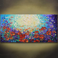 Unframed Abstract Red Flower Palette Knife Painting Hand Painted Wall Art Picture Canvas Home Decor For
