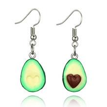 Temperament Lovely Fruit Earrings Soft Clay Avocado Heart Shaped Handmade Long Dangle Drop Earrings Modern Women Jewelry