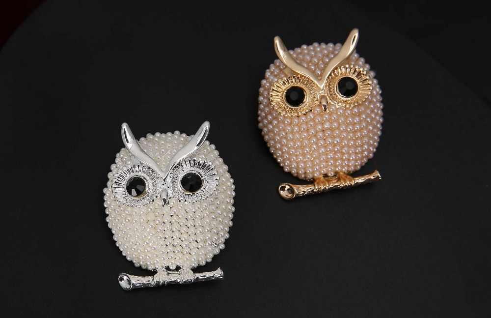 Bros Mutiara Hewan Burung Hantu Bros untuk Wanita Aksesoris Pesta Pernikahan Natal Dekorasi Perhiasan Bros