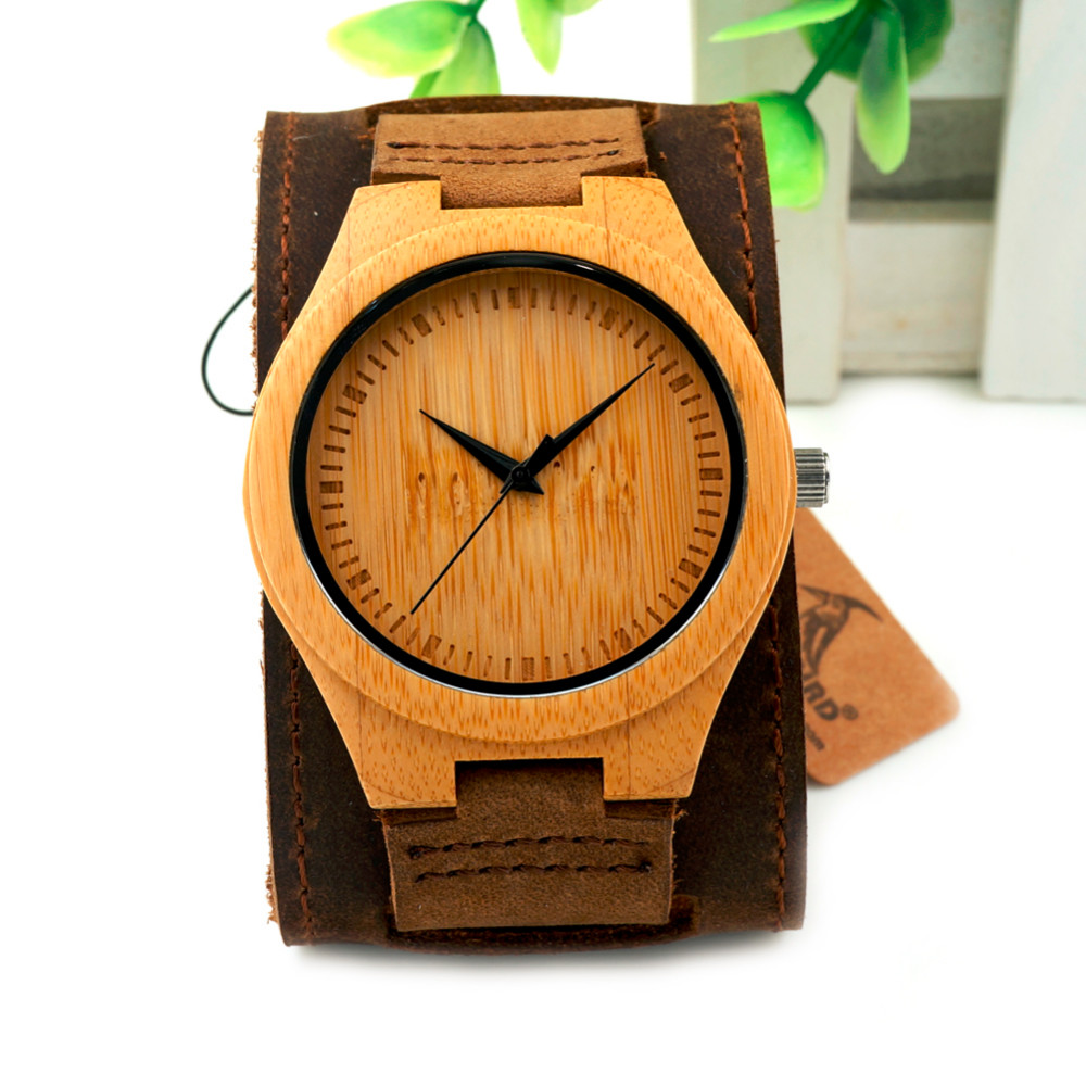 Bamboo Men and Women Wider Genuine Wristwatches 13