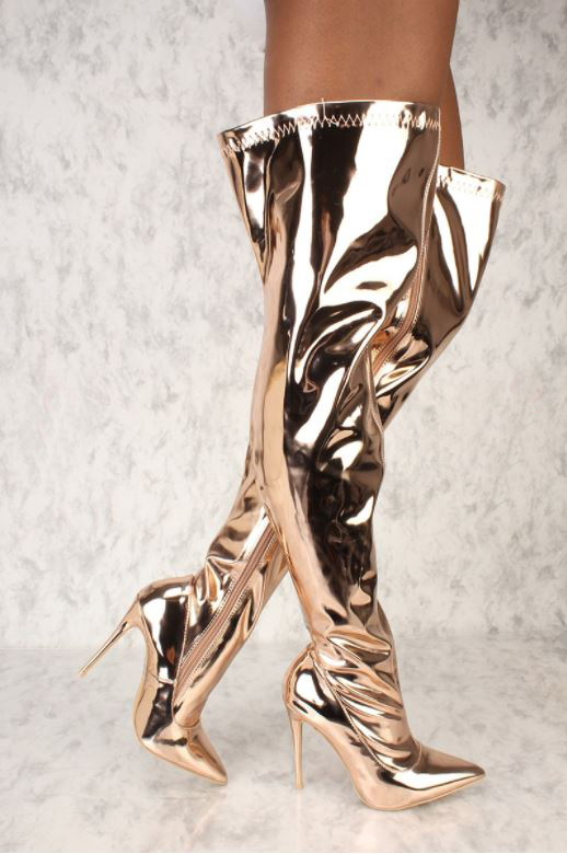 Women Metallic Pointy Toe Thigh High Heel Over The Knee Boots Party Clubwear Dress Shoes Handmade Support Custom Size bigtree women sock stretch boots over the knee thigh high boots metallic high heels pointed toe dress sexy shoes party clubwear