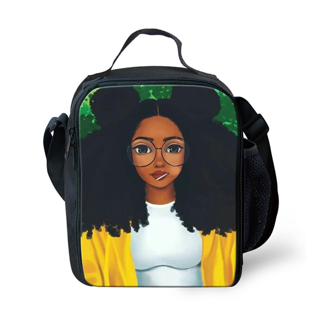 Thikin Casual Traditional African Art women Lunch Bags for Girls Fashion Portable Cooler Box Cartoon Pattern Tote Picnic Pouch in Lunch Bags from Luggage Bags