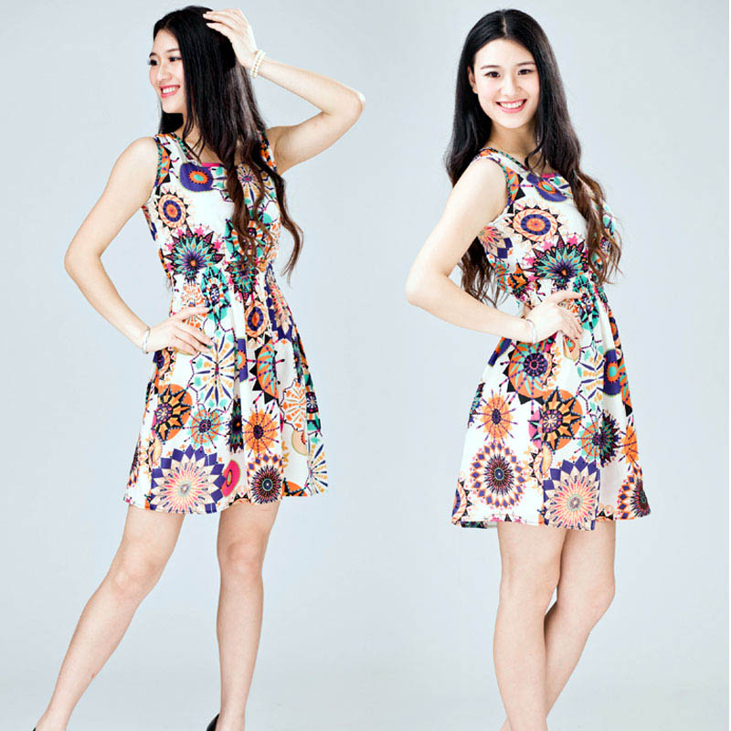 3d3636e24c 2018 Women Summer Sexy Slim Sleeveless Short Dress Sunflower Print Tie  Waist Casual Evening Party Mini Dress Plus Size Vestidos