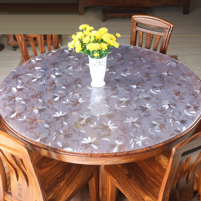home kitchen crystal Dining waterproof soft glass anti scald transparent oil proof round PVC mat placemat cover table cloth