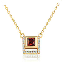 S925 Pure Silver Coloured Jewelry Natural Princess Cut Garnet Micro inlaid Necklace 14K Gold Girl Jewelry Wholesale