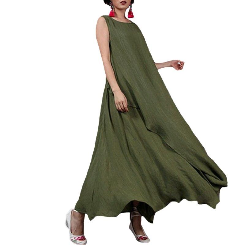 a131ba11520e 4XL 5XL Mulheres Bohemian Longo Maxi Vestido Sem Mangas O Pescoço Praia  Vestido de Verão Plus
