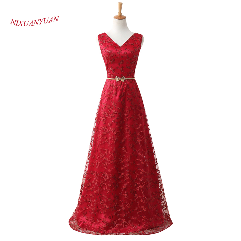 2017 New Design Lace Prom Dress 2017 V Neck Red Formal Dresses With Sashes A Line Cheap vestidos de baile 2017 Floor Length Gown