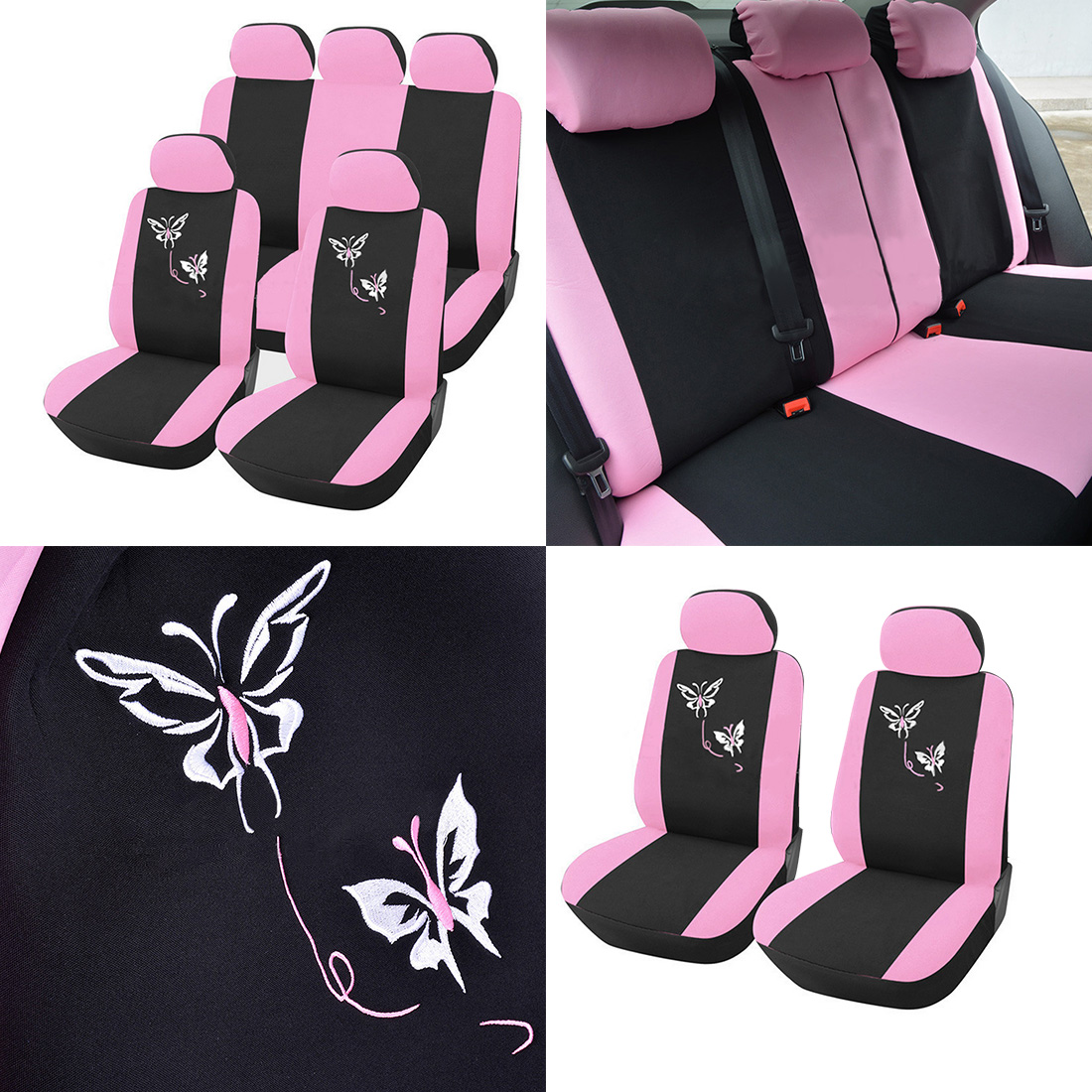 Dewtreetali decoration pink flower embroidery car seat covers for 1 x bag hook accessories mightylinksfo