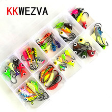 KKWEZVA 54pcs and Packing containers Fishing Lure winter Ice Fishing hooks Arduous Bait Pesca Deal with Isca Synthetic Bait Crankbait Swimbait