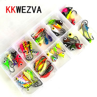 KKWEZVA 54pcs and Boxes Fishing Lure winter Ice Fishing hooks Hard Bait Pesca Tackle Isca Artificial Bait Crankbait Swimbait