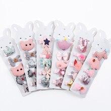 5 Pcs Korean Cute Princess Girl Cartoon Animal Crown Flower Hairpins Child Fashion Beautiful Hair Accessories Combination Set