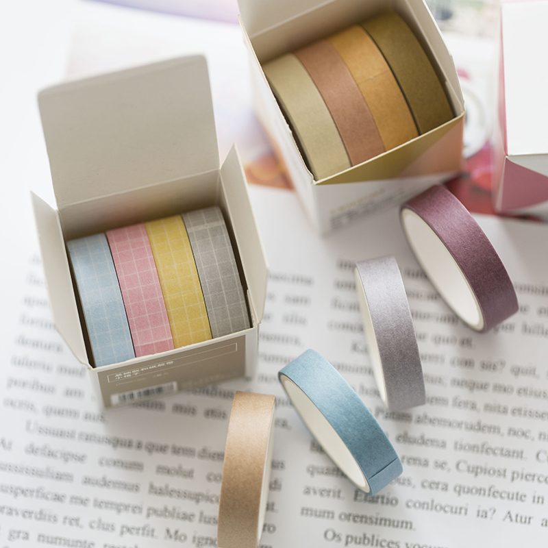 4 Rolls/set Basic Color Washi Tape 2m Grid Masking Tape For DIY Album Diary Planner Decorative Tape School Office Supplies