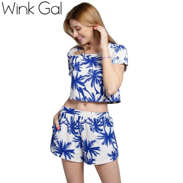 Wink Gal Летний комплект с пальмовым принтом Винк Гал, коротенький топ и шорты, открытый живот, ярко и современно