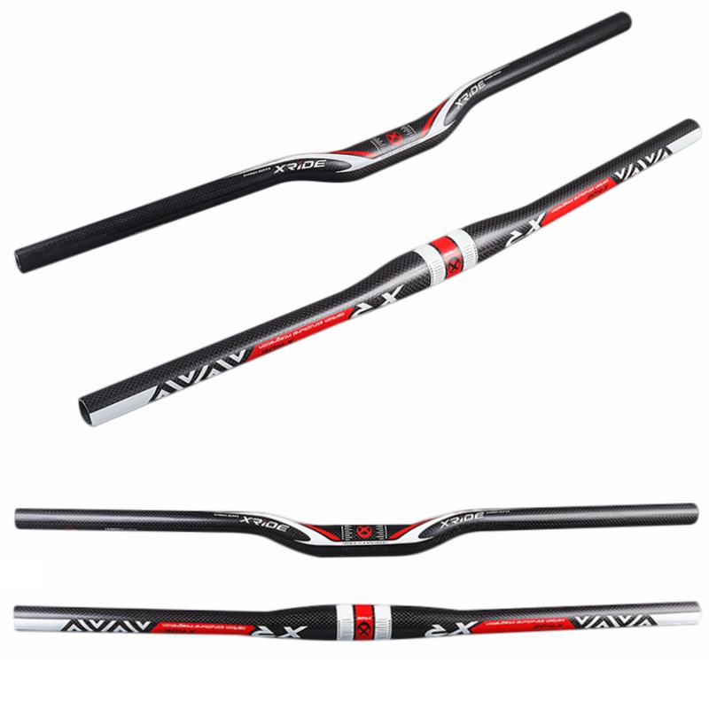 XRIDE XR Carbon Fiber Bicycle MTB <font><b>Handlebar</b></font> 31.8mm Flat / Riser <font><b>Handlebar</b></font> 580/600/620/640/660/680/700/720/740/<font><b>760mm</b></font> image