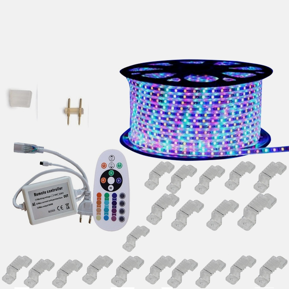 20M RGB LED Strip 5050 220V 5050 3528 rope lighting for outdoor garden waterproof 44 key