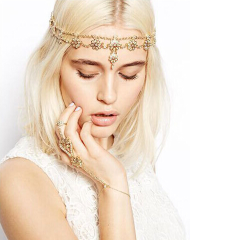 Fashion Crystal Flower Headband For Women Gold Plated Pendant Head Chain Forehead Lady Gift