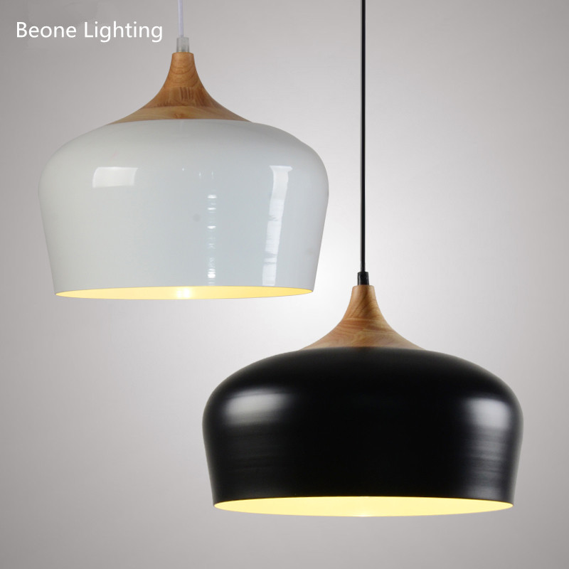 D30cm D35cm Nonla Modern wood kitchen bedroom restaurant pendant lights lamps Wood lamp Hanging light white black nordic lights nordic iron pendant lights lamps d35cm metal hanging light dining room kitchen home house light white black suspension lamp